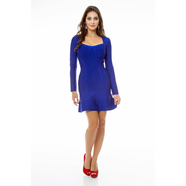 Sara Boo Women's Blue A-line Bandage Dress
