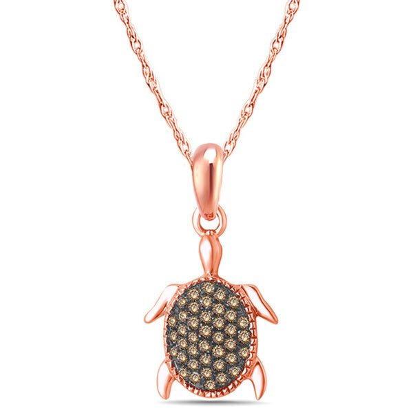 10k Rose Gold 1/6ct TDW Diamond Tortoise Fashion Pendant Necklace (I1-I2 , )