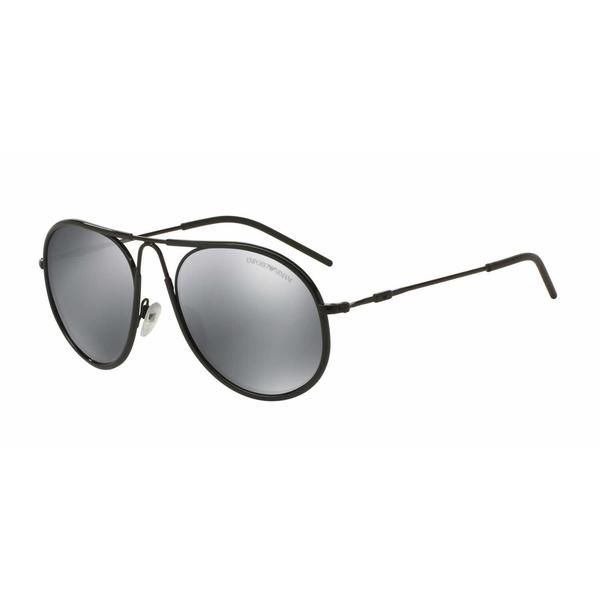 Emporio Armani Mens EA2034 30146G Black Metal Round Sunglasses