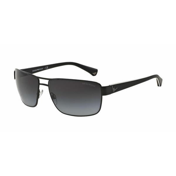 Emporio Armani Mens EA2031 31098G Black Metal Rectangle Sunglasses