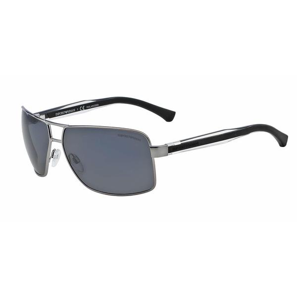 Emporio Armani Mens EA2001 301081 Gunmetal Metal Rectangle Sunglasses