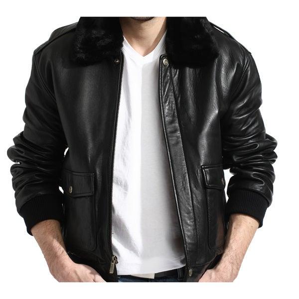 Tanners Avenue Men's Black Leather Aviator Bomber Jacket