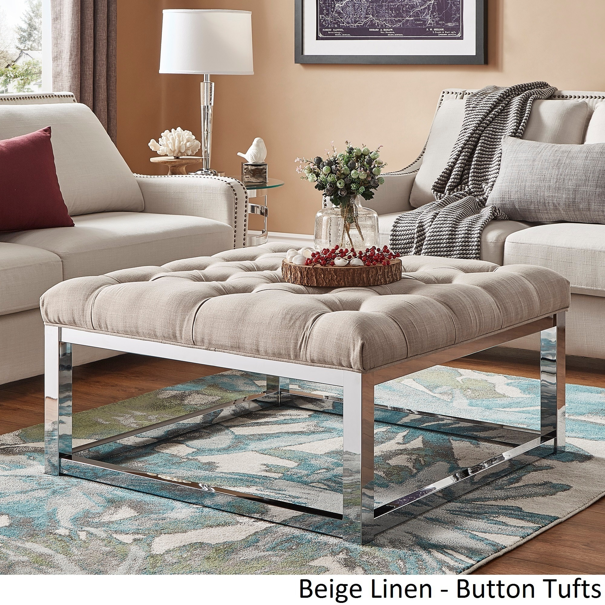 Solene Square Base Ottoman Coffee Table Chrome by iNSPIRE Q Bold