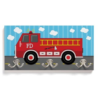 Red Wooden Firetruck Coat Hanger