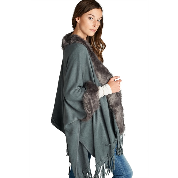 Spicy Mix Women's Mollie Faux-fur-trimmed Open-front Cardigan