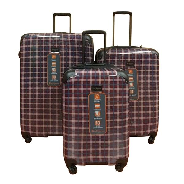 Ben Sherman Cherry Plaid 3-Piece Lightweight Hardside Spinner Luggage Set