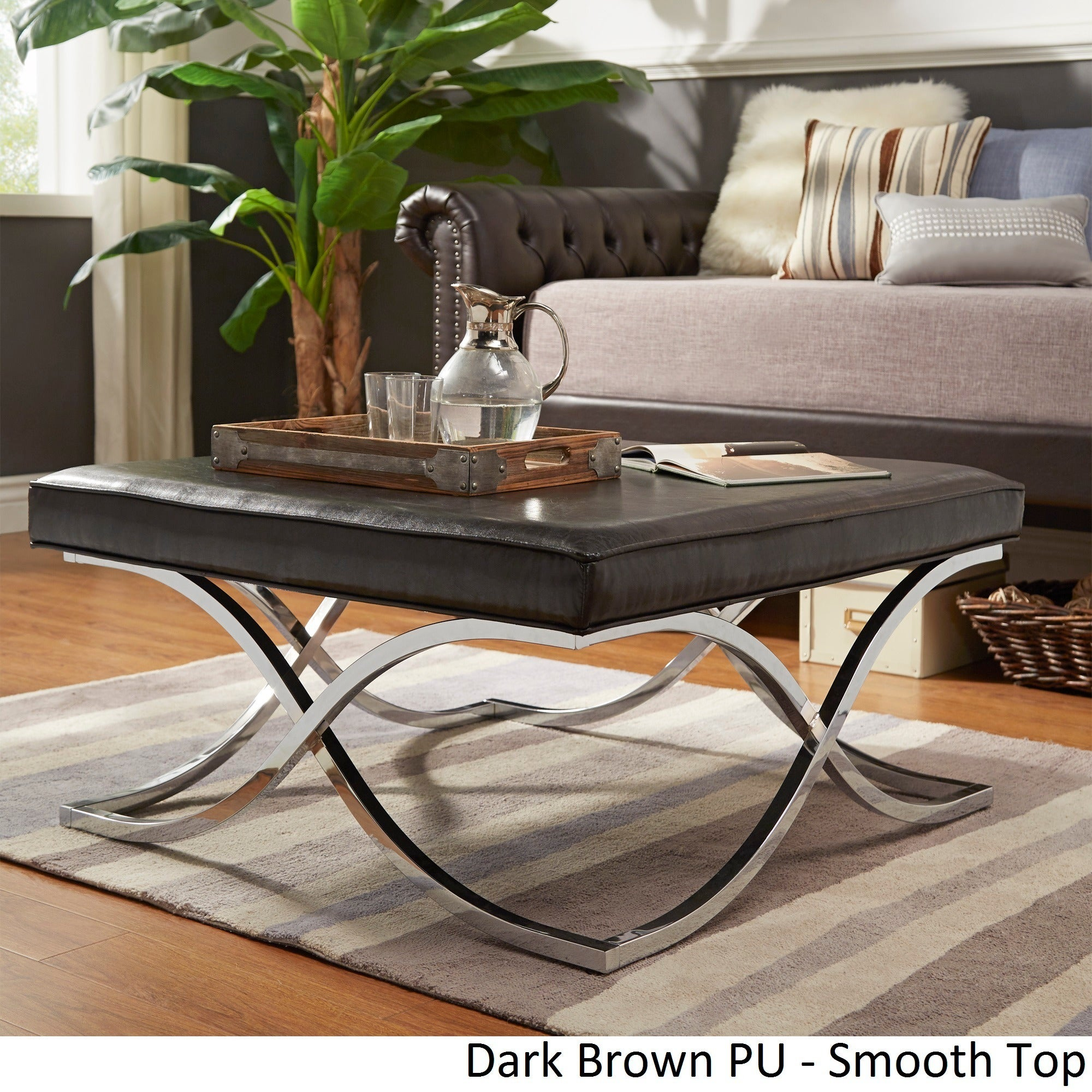 Solene-X-Base-Square-Ottoman-Coffee-Table-Chrome-