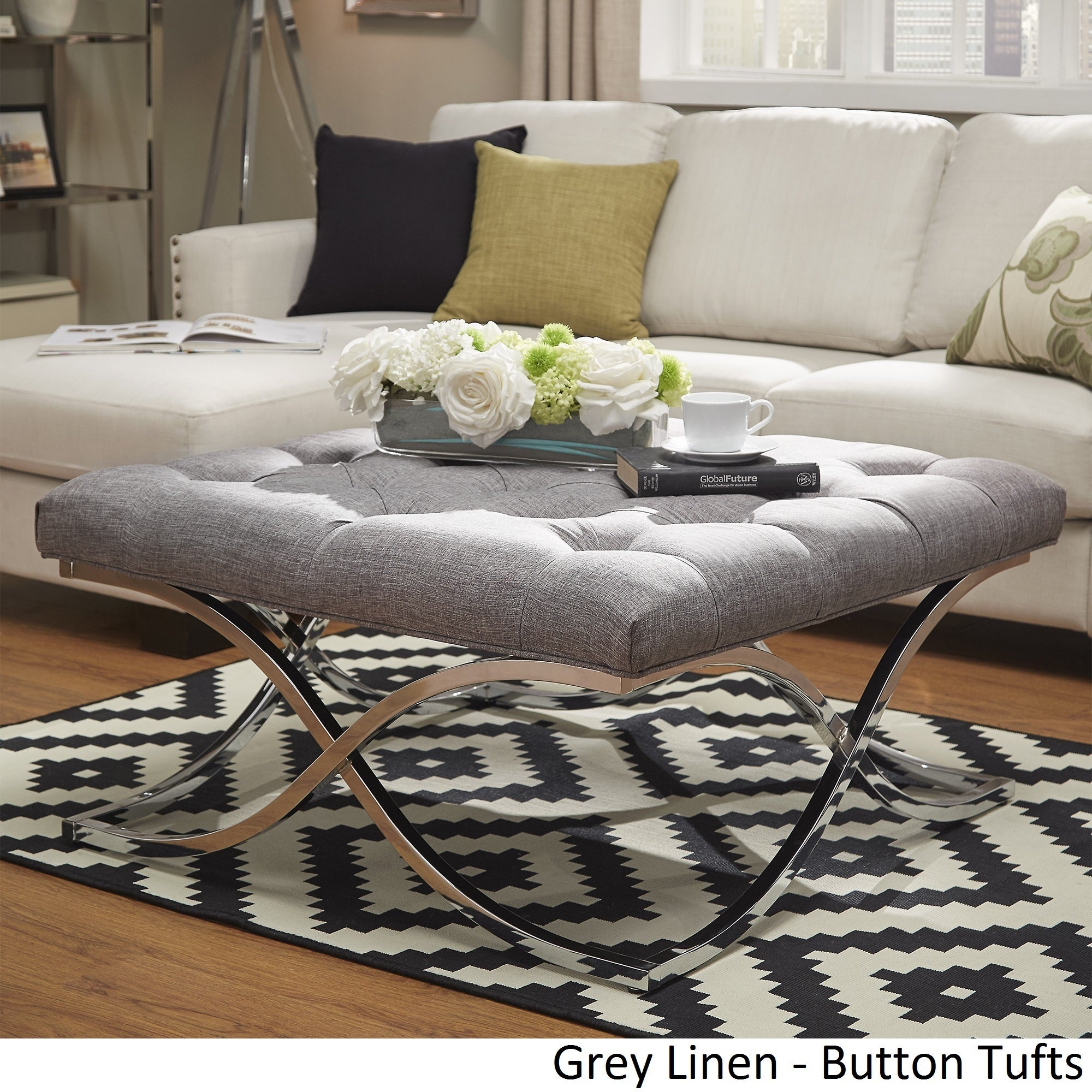 Grey ottoman coffee table