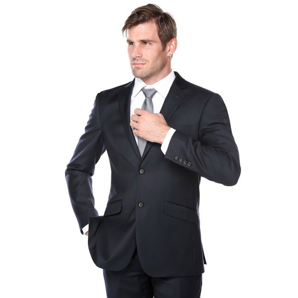 Verno Men's Navy Blue Wool Classic-fit 3-piece Suit