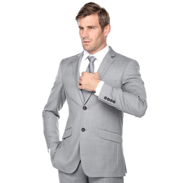 Verno Men's 100 Wool Grey Sli Fit Two Piece Suit (Jacket & Pants)