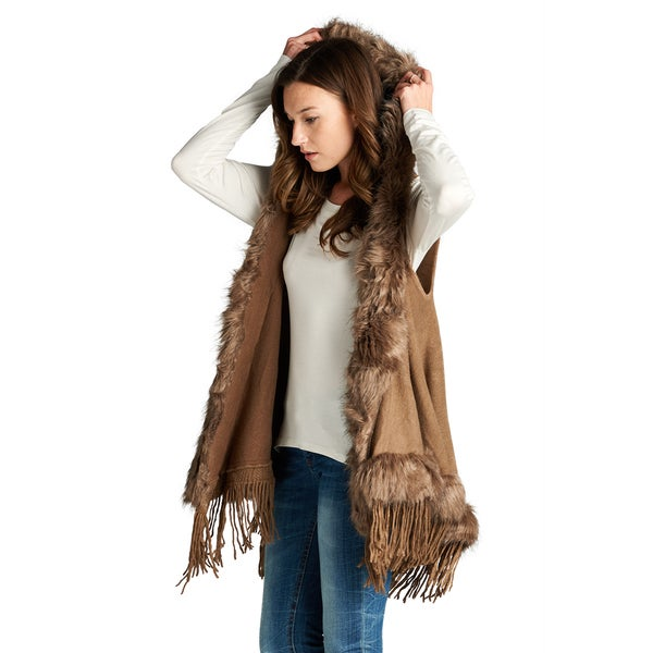 Spicy Mix Women's Brighid Faux Fur Accent Sleeveless Hooded Cardigan
