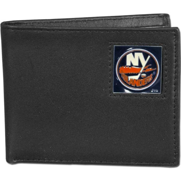 NHL New York Islanders Black Leather Bifold Wallet in Gift Box