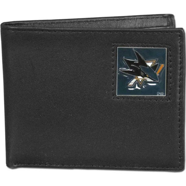 NHL Black Leather San Jose Sharks Bi-fold Wallet in Gift Box