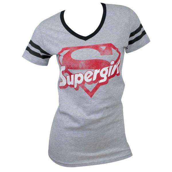 Supergirl Grey Cotton Blend Varsity V-neck T-shirt