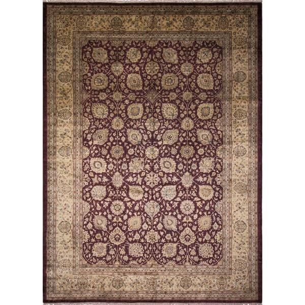 Turkish-knotted Juldiz Aubergine/Beige Rug (10'1 x 13'10) - 10'1 x 13'10 22323089