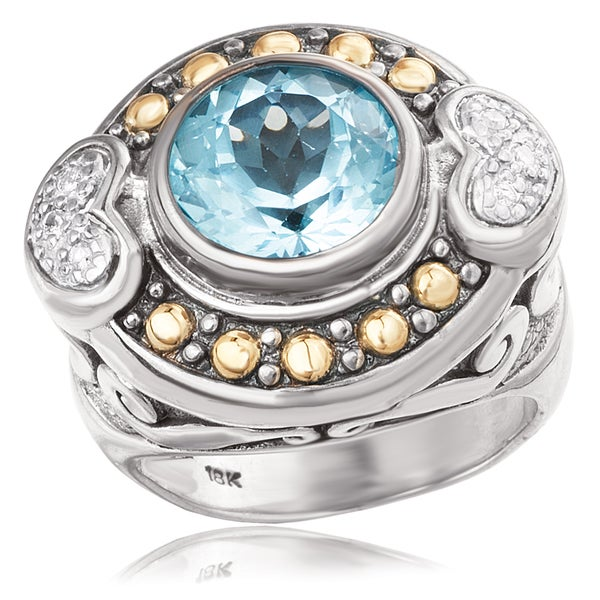 Avanti Sterling Silver and 18K Yellow Gold Round Blue Topaz Center and Diamond Heart Detail Ring