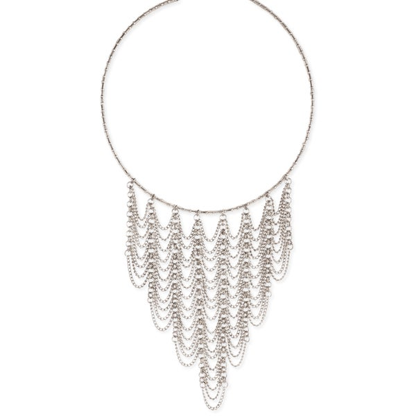 Handmade Silver Beaded Collar with Dainty Chain Draping Bib.
