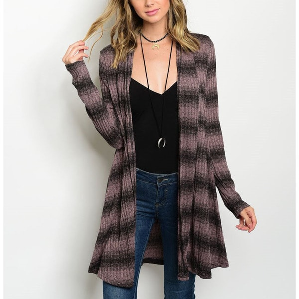 JED Women's Knit Long-sleeve Ribbed Striped Cardigan
