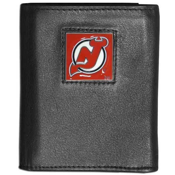 NHL New Jersey Devils Black Leather Tri-fold Wallet