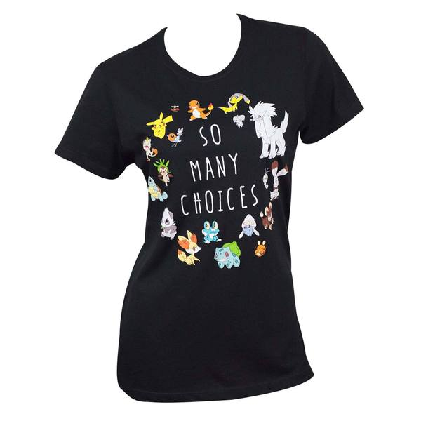 Women's Black Cotton Pokemon Choices T-shirt