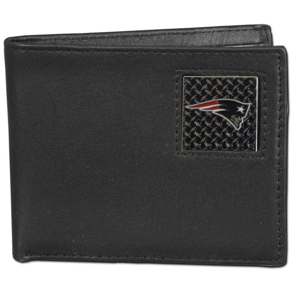 NFL New England Patriots Gridiron Black Leather Bi-fold Wallet in Gift Box