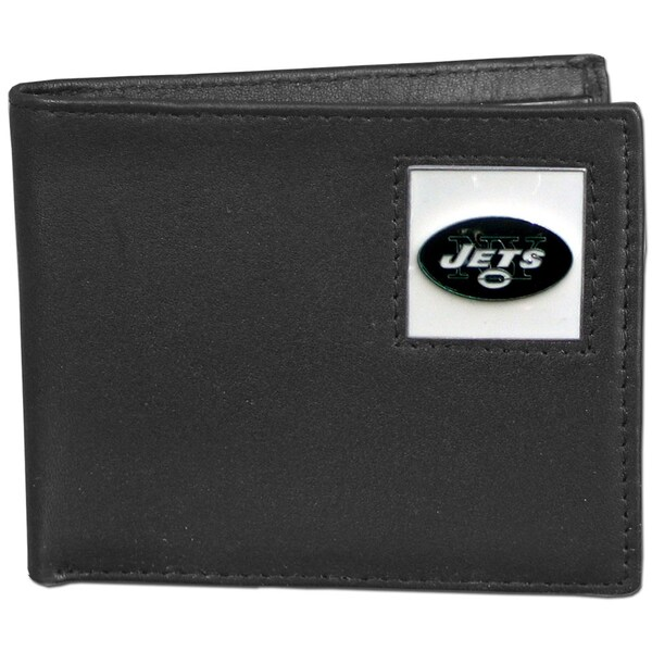 NFL New York Jets Black Leather Bi-fold Wallet in Gift Box