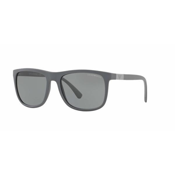 Emporio Armani Mens EA4079 550287 Grey Plastic Square Sunglasses