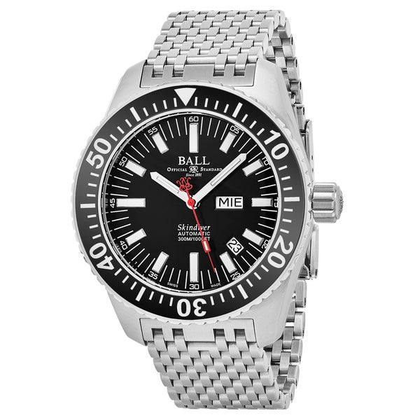 Ball Men's DM2108A-S-BK 'Engineer Master Skin Diver' Black Dial Stainless Steel Day Date Swiss Automatic Watch
