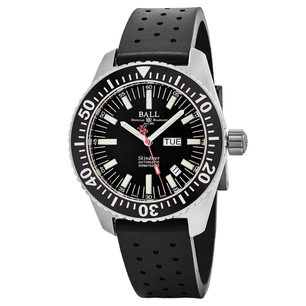 Ball Men's DM2108A-P-BK 'Engineer Master Skin Diver' Black Dial Black Rubber Strap Day Date Swiss Automatic Watch