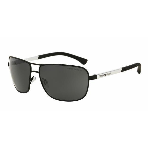 Emporio Armani Mens EA2033 309487 Black Metal Rectangle Sunglasses