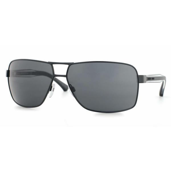 Emporio Armani Mens EA2001 301487 Black Metal Rectangle Sunglasses
