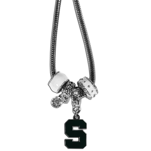Collegiate Michigan St. Spartans Chrome Euro Bead Necklace 22334810