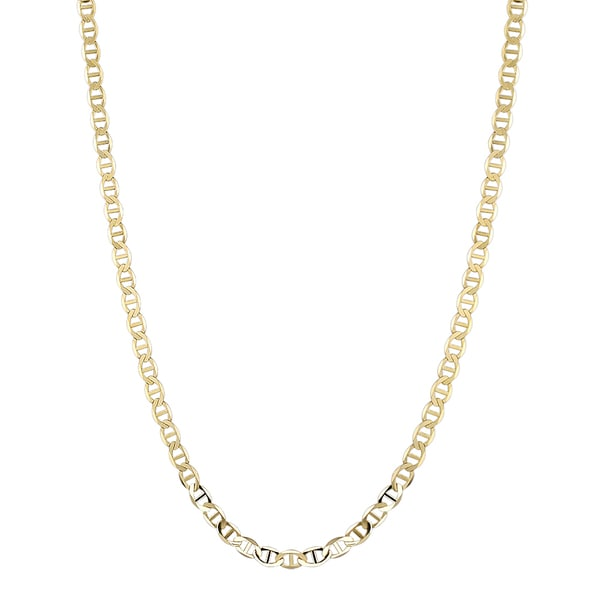Luxurman 14K Yellow Gold 6.5 mm Flat Mariner Chain Necklace