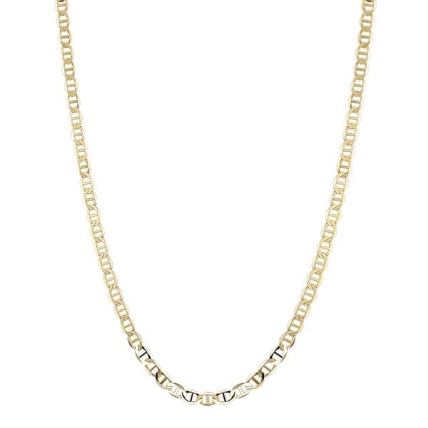 Luxurman 14K Yellow Gold 5.5 mm Flat Mariner Chain Necklace