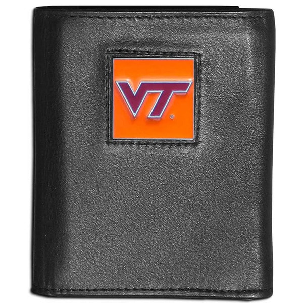 Collegiate Virginia Tech Hokies Black Leather Tri-fold Wallet
