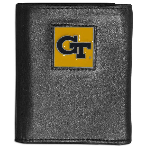 Collegiate Georgia Tech Yellow Jackets Black Leather Tri-fold Wallet