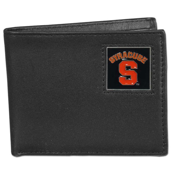 Syracuse Orange Collegiate Black Leather and Enamel Bi-fold Wallet in Gift Box