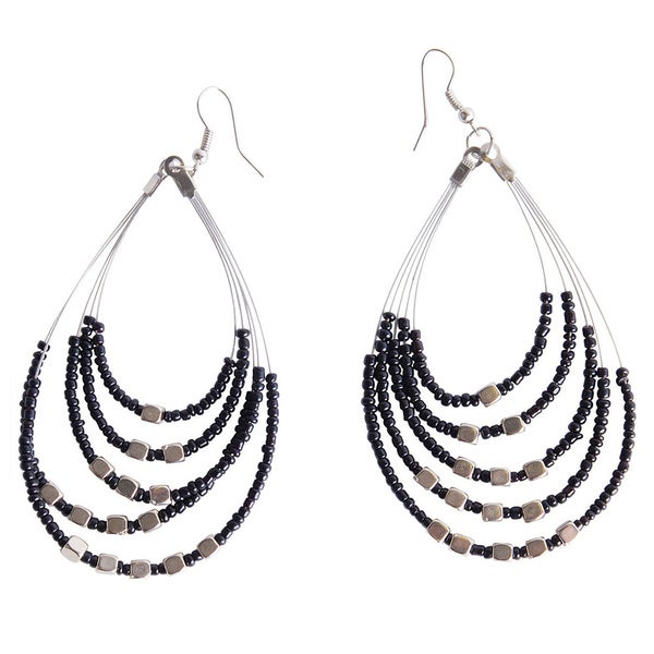 "1 World Sarongs Womens Beaded Hoop Earrings ""Oval Drops"""