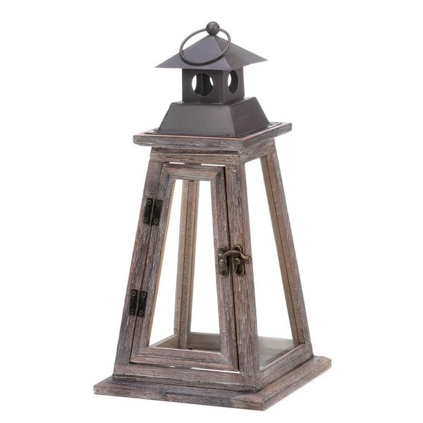 Home Locomotion Brown Pine Wood, Iron, and Glass Indoor Outdoor Elevate Wooden Candle Lantern