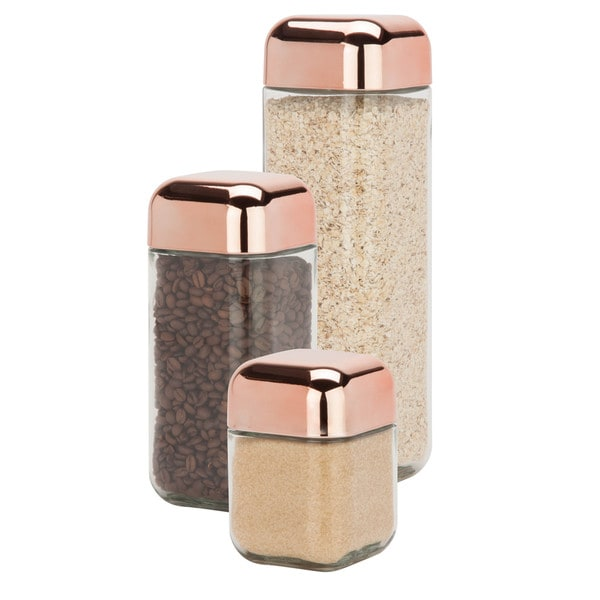 3pc Square Storage Jar Set