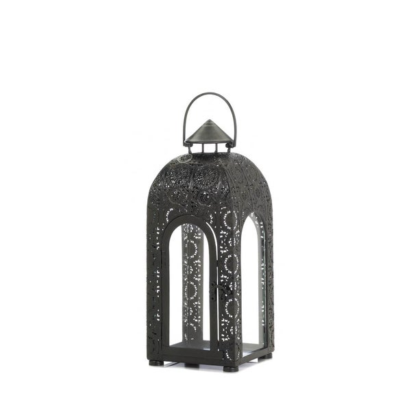 Home Locomotion Medallion Black iron and Glass Small Arched Candle Lantern 22336657