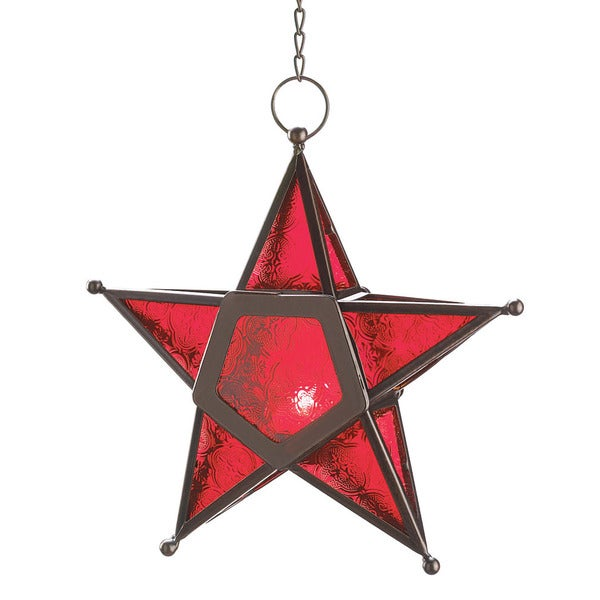 Home Locomotion Red Glass Panel Star Tea Light Lantern