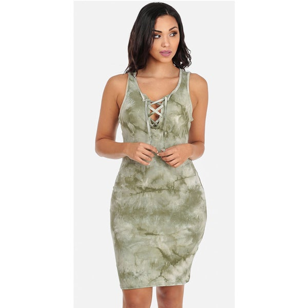 Juniors' Sleeveless Lace-Up Green Tie-Dye Bodycon Dress