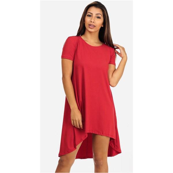 Juniors' Red Short Sleeve High-Low Dress
