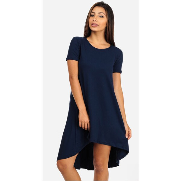 Juniors' Navy Short Sleeve High-Low Dress