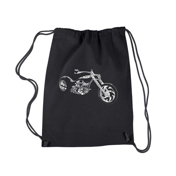 LA Pop Art Black 'Motorcycle' Print Cotton Drawstring Backpack 22337034