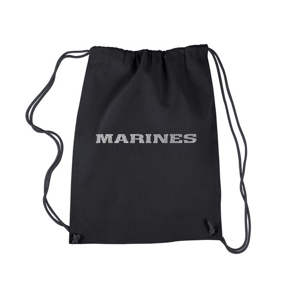 LA Pop Art Black 'Lyrics to the Marines Hymn' Drawstring Backpack