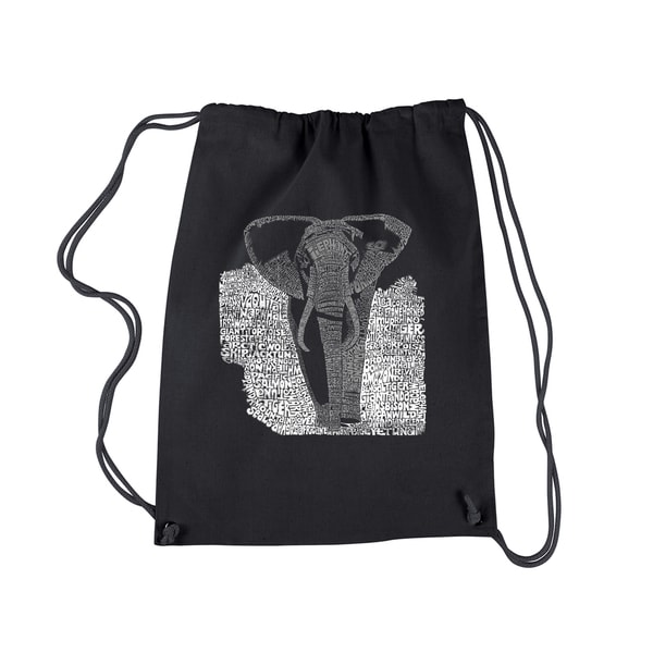 LA Pop Art 'Elephant' Black Cotton Drawstring Backpack