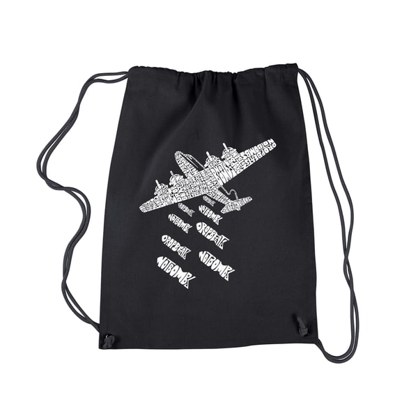 LA Pop Art 'Drop Beats, Not Bombs' Black Cotton Drawstring Backpack