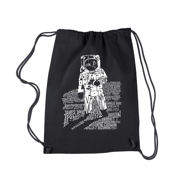 LA Pop Art 'Astronaut' Black Cotton Drawstring Backpack